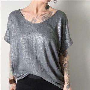 EILEEN FISHER Metallic Linen Cap Sleeve Top